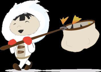 Eskimo qui à chassé le penguin