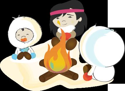 famille esquimau au coin du feu