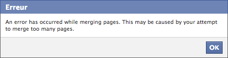 An error has occurred while merging pages. This may be caused by your attempt to merge too many pages