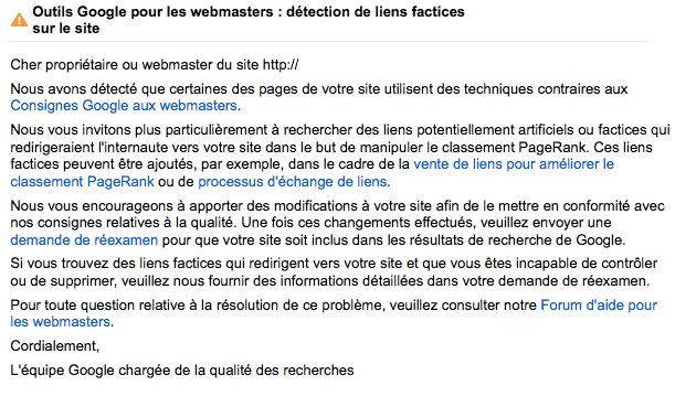 Message pénalité manuelle GWT liens factices unnatural inbound links