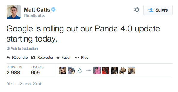 Tweet Matt Cutts Google Panda 4.0
