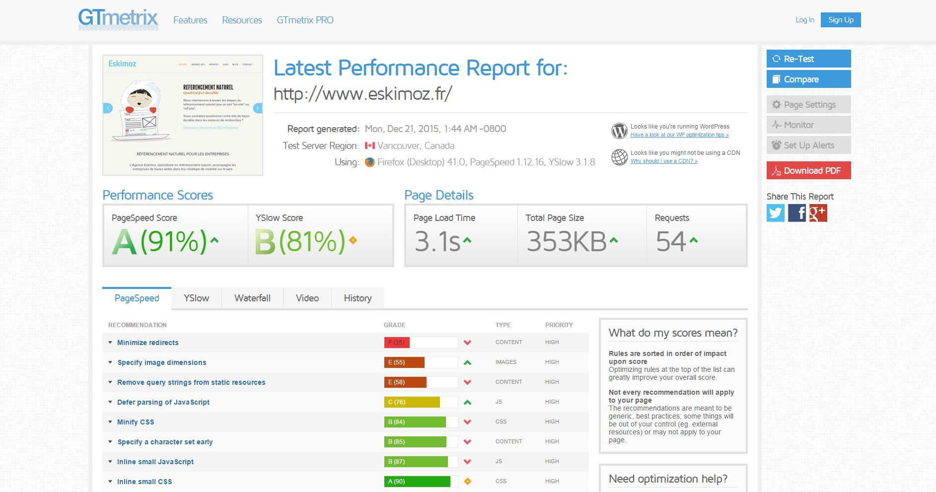 GTmetrix - Outils d'analyse de performance