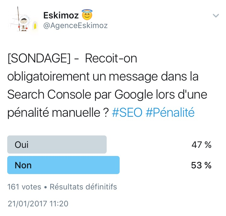 Recoit-on obligatoirement un message dans la Search Console par Google lors d une penalite manuelle ?